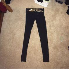 Victoria's Secret leggings Fold down leggings with gold angel design on waist band. Full length. Worn about 10 times Victoria's Secret Pants Leggings
