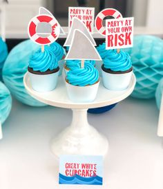 21 Fun Shark Party Ideas for Kids That Love the Ocean Themed Cupcakes, Fun Cupcakes, Birthday Cupcakes, Birthday Party Themes, Birthday Ideas, Shark Fin Cupcakes, Shark Cake, Wedding Shower Cupcakes, Brithday Cake