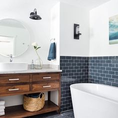 Such a dreamy bathroom Our bathroom Reno is happening in sllllloooowwww motion, it won't be near as nice as this bathroom because it's being done on a very tight budget but I plan on the main bathroom being very grand!!! Regram from @ourhousewiththeredbarn