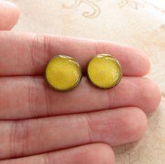 Yellow Resin Earrings Sparkle Post Earrings Lemon by silverthaw, $16.00