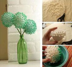 Kulak pamuğundan dekoratif çiçekler...