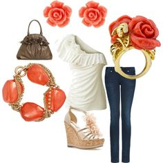 coral and rosettes, created by jwp0709.polyvore.com