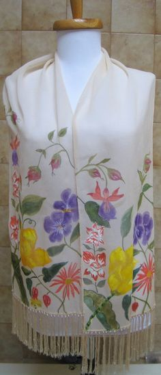 Handpainted silk chiffon scarf garden floral luxury made in the USA one of a kind #silkworth