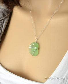 Green sea foam sea glass pendant - Pali design