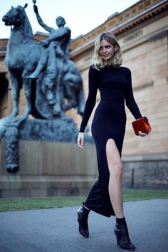 Master // Wearing: Asos dress, Jimmy Choo boots and clutch, Ryan Storer ear cuff, Jacquie Aiche finger bracelet and rings, Ilena Makri rings