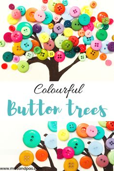 Time: 30 mins Age: Toddlers to Big Kids Difficulty: Easypeasy Button Crafts For Kids, Spring Crafts For Kids, Diy For Kids, Spring Activities, Fun Activities For Kids, Button Tree Art, Preschool Crafts, Kids Crafts, Craft Projects