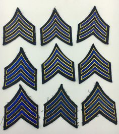 Lot of 9 Sergeant Police Stripes Blue Chevron Law Enforcement Police Patches