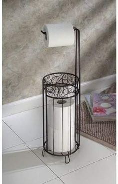 InterDesign Toilet Paper Holder with Free Charmin Utra-Soft 4 Pack! Free Standing Toilet Paper Holder, Unique Toilet Paper Holder, Toilet Paper Holder Stand, Paper Roll Holders, Toilet Paper Storage, Grand Menage, Wrought Iron Decor, Primitive Bathrooms, Ornaments