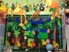 Jungle animal bulletin board idea The King of the jungle Once, there are various animals living in a big jungle. Every animal has duties in [. Hippo Crafts, Safari Crafts, Jungle Crafts, Jungle Art, Jungle Theme, Jungle Animals, Wild Animals, Rainforest Preschool, Rainforest Classroom