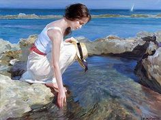 """""""Small Fishes"""" by Vladimir Volegov, painting, cm, oil on canvas Woman Painting, Figure Painting, Painting & Drawing, Rain Painting, Female Portrait, Female Art, Vladimir Volegov, Russian Art, Art Plastique"""