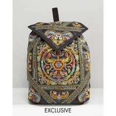 Reclaimed Vintage Ornate Embroidered Backpack ($77) ❤ liked on Polyvore featuring bags, backpacks, rucksack bag, embroidered bags, embroidered backpacks, backpack bags and polyester backpack
