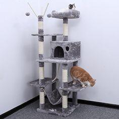 Songmics Arbre à chat grande capacité griffoir niches colonnes renforcées 154 cm gris foncé PCT86G: Amazon.fr: Cuisine & Maison