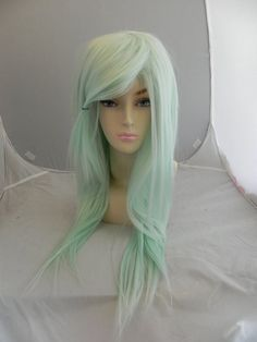 HALLOWEEN SALE // Light Mint Green / Long Straight Layered Wig Pastel Lolita Gyaru, Cosplay Wig, Costume Wig, Dress Up, Scene Hair