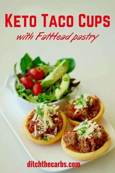 Keto taco cups with FatHead pastry is absolutely incredible. Low carb, grain free taco heaven. | ditchthecarbs.com via @ditchthecarbs