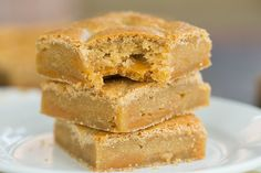 Salted Caramel Blondies | browneyedbaker.com #recipe