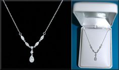 .25 ctw White Diamonds in 14K White Gold Lavalier Necklace ~ 21 inch ~ MINT #Unbranded #Lavalier