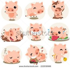 Cute Pig cartoon inaction set, with pigs in different situations like waving, running, stained with mud, pig playing with mud, smiling, pig eating an apple, sleeping pig vector illustration.