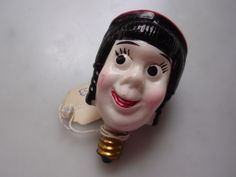 "VINTAGE MILK GLASS FIGURAL CHRISTMAS LIGHT BULB ""RARE PRINCESS"""