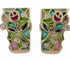 EARRINGS : yellow gold, 8 diamonds 0,18 ct. and enamels. size: 20 x 12  mm. 05MA0008