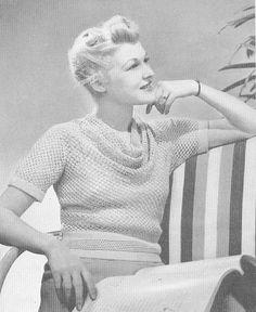 1939 Crochet Mayfair Cowl Neck Blouse | Flickr - Photo Sharing!