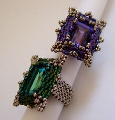 Sapphire & Amethyst - trytobead  Some day I'm going to get this pattern. I just need to find out who sells the crystals for this ring!