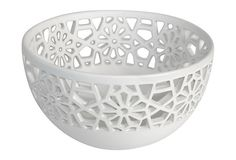Click Pin it to share this product on Pinterest! A beautiful cut-out border and a bright white finish make this bowl a decorative must-have