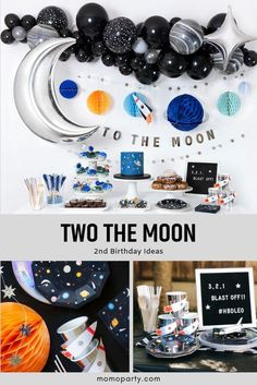 Check out the modern space themed party goods and ideas for your little one's two year old birthday! Featuring astronauts, rockets, shooting stars, our Blast Off collection is perfect for your little space lover! themes Two The Moon Birthday Party Ideas Boys First Birthday Party Ideas, Birthday Themes For Boys, 1st Boy Birthday, Boy Birthday Parties, Toddler Party Ideas, Birthday Decoration Themes, Boy Theme Party, Cool Party Themes, 3 Year Old Birthday Party Boy