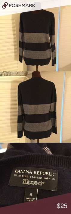 Banana Republic Sweater EUC. MATERIALS: 45 % Merino Extra Fine Wool, 25% Rayon, 20% Nylon, & 10% Cashmere. MEASUREMENTS: Length - 26 inches, Shoulder Width - 15 inches. COLOR: Navy & White. Banana Republic Sweaters Crew & Scoop Necks