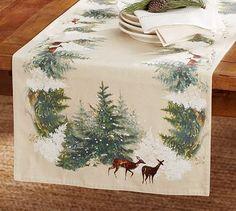Deer in Snow Table Runner #potterybarn