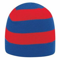 """8 1/2"""" Acrylic Knit, Two Tone Striped Beanies"""