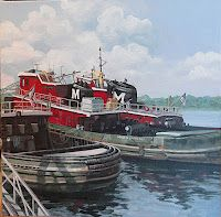 Portsmouth Tugs Art Print by Christine Blain. All prints are professionally printed, packaged, and shipped within 3 - 4 business days. Portsmouth, Nautical Painting, Wood Boat Plans, Tug Boats, Ship Art, Vacation Destinations, Vacations, New Hampshire, Decoration
