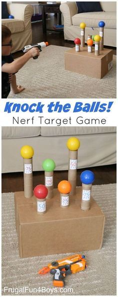 """""""Knock the Balls!"""" DIY Kids Nerf Target Game Tutorial via Frugal Fun 4 Boys - Knock the Balls Down Nerf Target Game - Super boredom buster, and a fun party idea too!"""