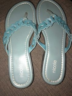 48b604922a243 Womens Turquoise Flip Flops Size 9 Great Condition (Designer  nicole)   fashion