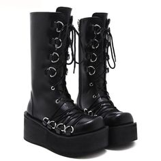 Demonia Style Women Black Boots Casual Mid Calf Wedges Platform High Heel  Boots Punk Gothic Shoes Lace Up Martin Boots(China) 5e7f12060c