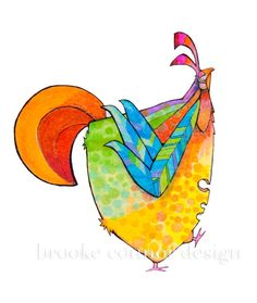 Chicken Superior Colorful hen print by BrookeConnorDesign on Etsy, $22.00
