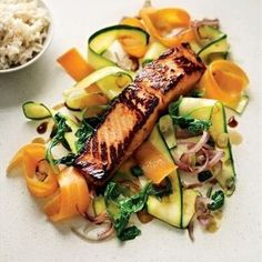 Sesame Soy Salmon & Vegetables with Coconut Rice