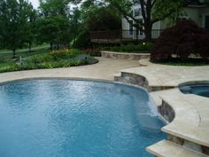 Outdoor Living Spaces-Swimming Pool Patio Design - Home and Garden Design Idea's