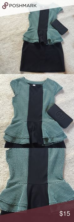Feminine and flattering polka dot ruffle top Super cute top with small polka dots and two figure-flattering ruffles which flare out below waist. Perfect with a pencil skirt or skinny black pants. Fits a medium or smaller large Tops