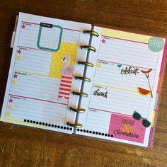Mini Happy Planner weekly spread using the MAMBI Seasonal sticker book