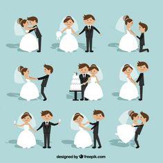 Flache Hochzeits-Paar-Sammlung Kostenlose Vektoren