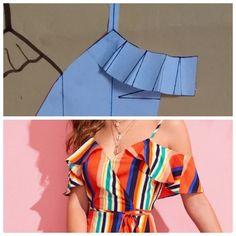 #moda #fashion #modeladora #modelagem #costura Baby Dress Patterns, Blouse Patterns, Clothing Patterns, Diy Summer Clothes, Diy Clothes, Kurta Designs, Blouse Designs, Costura Fashion, Make Your Own Clothes