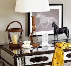 Equestrian decor - love the case. My aunt gave me a similar candle hurricane....Love Home Goods!