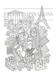 Adult Coloring Book Printable Pages For Adults Instant Download Faces Of The World1 Page 3