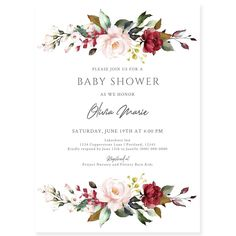 Burgundy Floral Baby Shower Invitation | Forever Your Prints