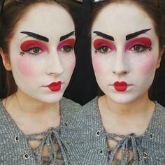 schminken-fasching-ideen-frauen-geisha-make-up-weiß-rot