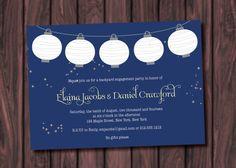 Hanging Mason Paper Lanterns Fireflies Backyard BBQ Engagement Party Invitation- Digital File on Etsy, $16.00