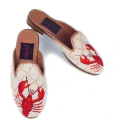 By Paige Ladies Red Lobster Needlepoint Mules so hot he is walking off the shoe The lobster is hand stitched in petit point These are fully lined with s Nautical Favors, Clogs Shoes, Flats, Red Lobster, Monogram Gifts, Hand Stitching, Needlepoint, Slippers, Lobsters