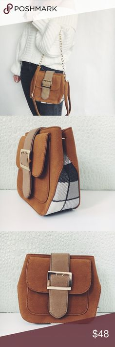 ✨HP✨! Brown Buckle Bag Gold Mini Crossbody NWT Boutique Item. Such a classic, with a touch of plaid! This is a brown vegan Leather handbag with gold hardware. This cutie features a PU fabric that has a very soft feel, a plaid design on the sides/bottom, Vegan Leather & gold chain link strap, versatile silhouette (clutch, crossbody or shoulder), lining, outside Faux pocket (not a pocket), and one inside zipper pocket. Shoulder Strap is detachable. Measurement: 8.5 x 7 x 3 inches. Material…