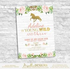 Horse Birthday Invitation Girl, Young Wild and Three Birthday Invitation, Floral Third Cowgirl Rustic Horse Birthday Invitation Girl by PrisellieDesigns on Etsy Wild One Birthday Invitations, Photo Invitations, Digital Invitations, Invites, Third Birthday Girl, Girl Birthday Themes, Birthday Ideas, Happy Birthday, Horse Birthday Parties