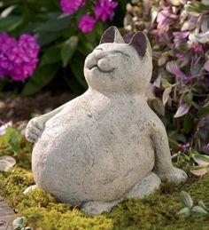 com cabaças Volcanic Ash Lucky Cat Outdoor Statues, Garden Statues, Garden Sculptures, Garden Figurines, Outdoor Sculpture, Clay Cats, Cat Statue, Concrete Crafts, Concrete Garden